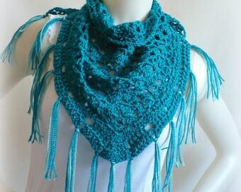 Aegean BlueTriangle Scarf, Tea Shawl, Blue Scarf with Fringe, Blue Baktus, Fringed Shawl, Crochet Scarf, Handmade Scarf, Ready to Ship