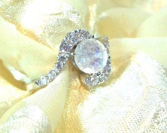 Rainbow Moonstone Bypass Ring or Engagement Ring White Gold Crown & Sterling Silver Band