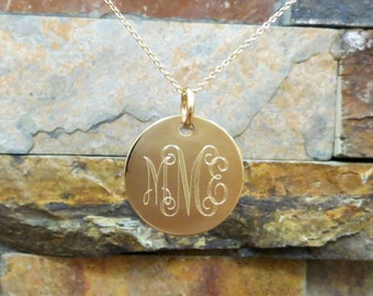 """Gold Monogram Necklace 7/8"""", 14K Gold Filled Disc - Personalized and Engraved- Monogrammed Necklace - Bridesmaids Gift -Wedding - Christmas"""