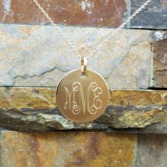 "Gold Monogram Necklace 7/8"", 14K Gold Filled Disc - Personalized and Engraved- Monogrammed Necklace - Bridesmaids Gift -Wedding"