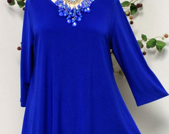 Dare2bstylish In Style Travelers Royal Blue Tunic top Small to 3XL, Plus Size Top, Asymmetrical Top, Lagenlook  Tunic