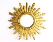 Large Vintage Gold Sunburst Mirror - Mid Century Starburst Convex Mirror