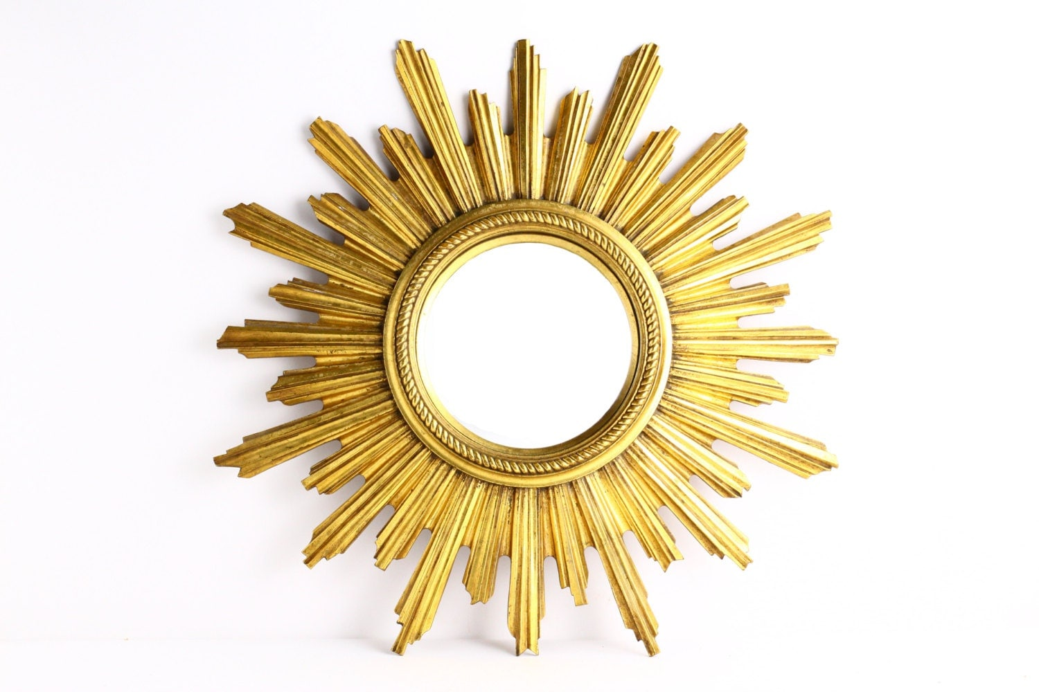 Large vintage gold sunburst mirror mid century starburst for Big gold mirror
