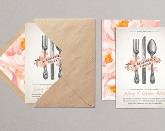 Vintage Cutlery Printable Wedding Rehearsal Invite, Formal Rehearsal Dinner Invitation, Wedding Party Invites