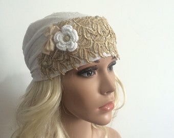 White Flower with Gold Bow Head Cover, S-0027, Tichel, Snood, Pre Tied Headwear, Headscarves, Jewish Head Covering, Bandana, Sigal Shleifer