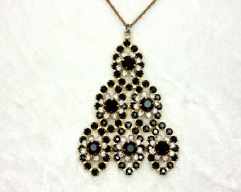 Vintage Black Flower Triangle Necklace
