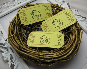Duckie Tickets, Baby Shower Games, Tickets, Ephemera, Scrapbooking, Cards, Carnival Tickets, Embellishments, Rubber Duck - Set of 25
