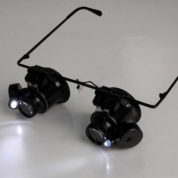 dual 20x magnifying eye glasses w led lights lit magnifier glass. Black Bedroom Furniture Sets. Home Design Ideas