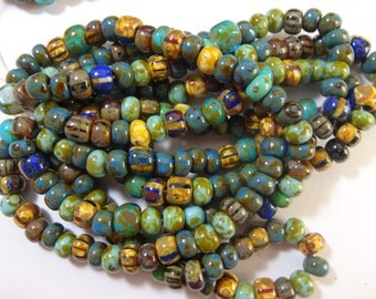 3/0 Aged Turquoise Picasso and Striped Seed Bead Mix  3 Strands