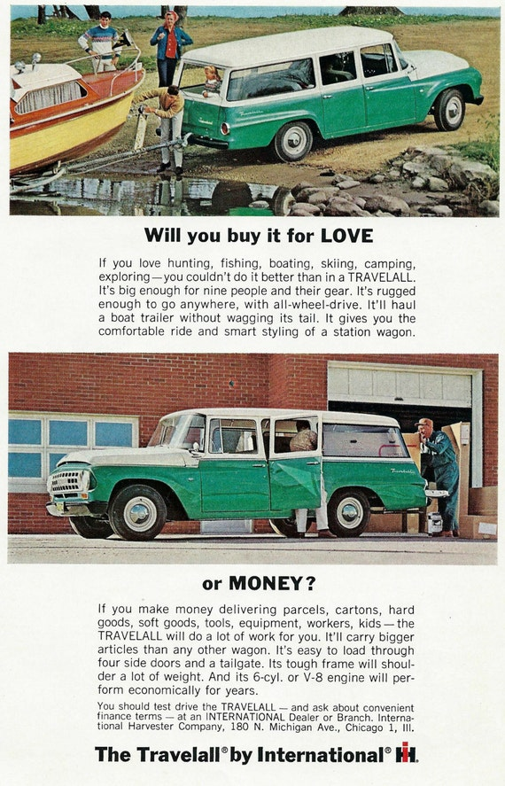 Items similar to 1964 travelall truck car ad vintage v8 for International harvester wall decor