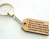 Your Goals Keychain, Alder Wood, to do keychain, goal reminder, new years resolution, motivational present, inspirational accesories