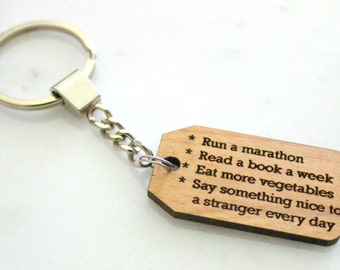 SALE- YOUR Goals Keychain, Alder Wood, to do keychain, goal reminder, new years resolution, motivational present, inspirational accesories
