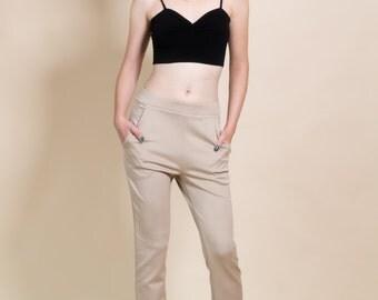 Beige women trousers, straight leg pants, winter pants, women's pants, comfortable pants, stretchy pants