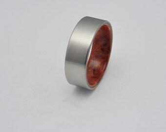 Titanium and wood ring Redwood Burl wood handmade wedding band