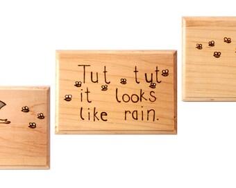 "Classic Pooh ""It Looks like Rain"" Set of Three Plaques"