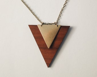 Geometric triangle necklace - Natural wood and Brass  - Minimalist and modern -  Jewelry design