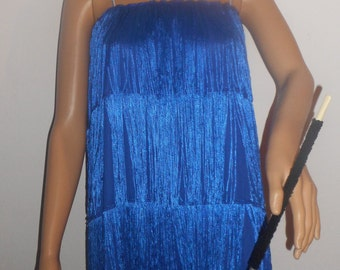 New adult large / plus size blue 1920's flapper costume dress costumes