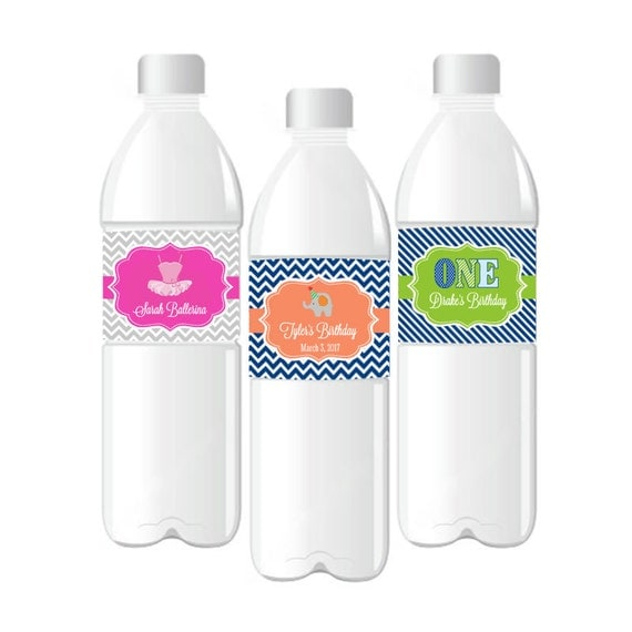 Decor Drink Bottles Custom Personalized Kids Birthday Water Bottle Labels Waterproof Water Design Ideas