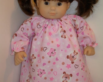 "15 inch Bitty Baby & 18 inch AG Doll Clothes, Cute Pink ""PUPPY and KITTY"" Nightgown, Fits Both 18"" Ag American Doll and 15 inch Bitty Baby"