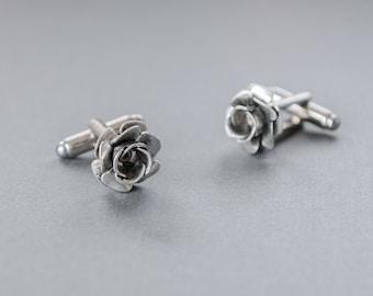 Rose Cufflinks Steampunk Cufflinks Gothic Victorian Rose Cufflinks Antique Silver Steampunk Jewelry Mens Accessories