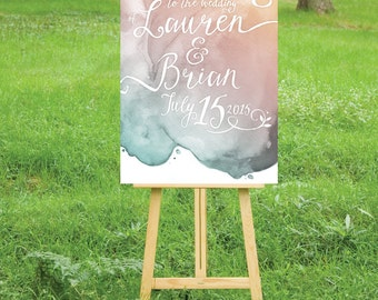 The LAUREN . Welcome Wedding Ceremony Sign PRINTED or PDF . Heavy Paper, Foam Board, Canvas . Watercolor & Calligraphy Pink Teal Blush Gold