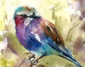Lilac Bird Watercolor Painting Art Print, Bird Watercolor Art Wall Art