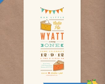 Cutie Pie Printable Birthday Party Invitation