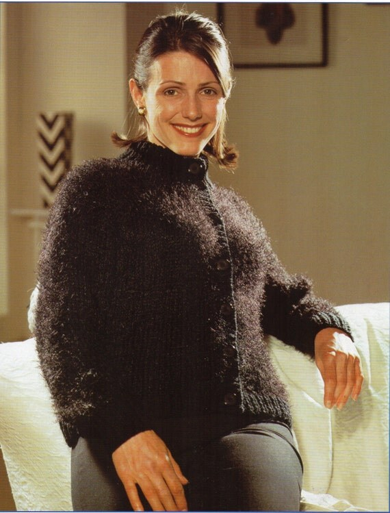 womens chunky mohair cardigan knitting pattern 30-42 inch