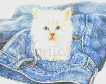 Art Print, Kitten Portrait, Animal Portrait, Kitten Drawing, Kitten, Illustration, Kitten Art