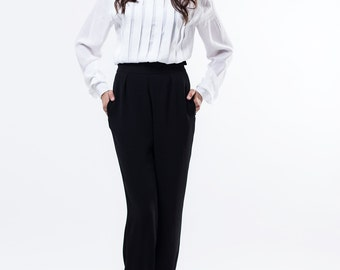 White pleated blouse / White pleated shirt / Formal blouse / White shirt / Formal top