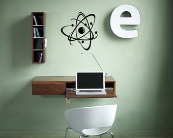 Nuclear Atom Wall Decal Physics Atomic Symbol Energy Electron Molecule Nucleus Proton Neutron Particle School Wall Art Sticker Decal nm049