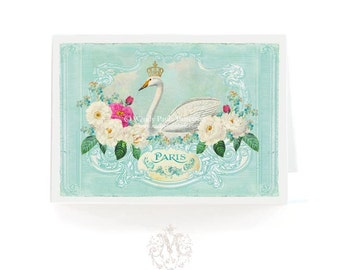 White swan card, romantic crowned bird, French vintage style greeting