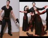 Zombie Hunter Bride & Groom With 4 Climbing Zombies Wedding Cake Topper - Personalized to Look Like Your Photos