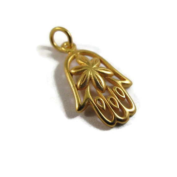 Brushed Gold Hamsa Pendant, Gold Hand of Fatima Charm, 24k Gold Plate over Natural Bronze, Jewelry Supplies (CH-571gp)