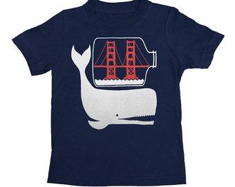 KIDS Shirt / San Francisco Whale & Golden Gate Bridge - West Coast SF California Tshirt Nautical Toddler Youth T-shirt Boy Girl Children Tee
