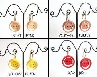 Button pendant earrings in pastel colors - CHOOSE YOUR COLOR!