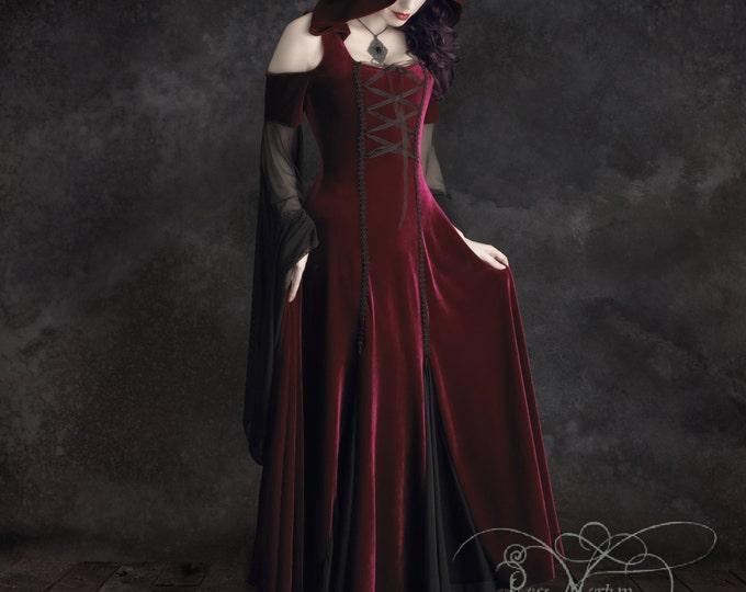 Imaginaerum Hooded Handmade Bespoke Gothic Dress Red Riding Hood Fairy Tale Wedding Romantic Elven Dress in Velvet and Mesh