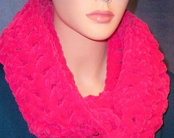 Neon Pink Crochet Infinity Scarf, Accessories, Best selling item, Crochet Scarf, Hot pink Infinity Scarf Plush Infinity Scarf Hot Pink Scarf