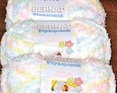 Bernat Pipsqueak 100% Polyester Bulky Yarn, Three Balls, 120 Yd ea / 360 Total, Lot CA00111, Color 59306 Baby Print Pastel Pink Green Yellow