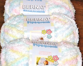 Bernat Pipsqueak Chenille Bulky Yarn, Three Balls 100% Polyester, 120 Yd (360 Total) Lot CA00111, Color 59306 Baby Print, Pink Green Yellow