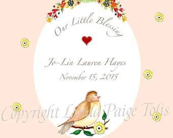 """Personalized Baby Birth Announcement """"Sweet Tweet"""" by Linda Paige Tolis"""