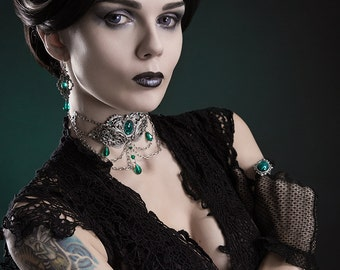 Green Gothic Choker - Silver Filigree Victorian Choker with Green Stones - Victorian Gothic Jewelry