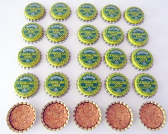 25 Bottle Caps Mission Lemon Lime Soda Pop Vintage UNUSED Cork Lined