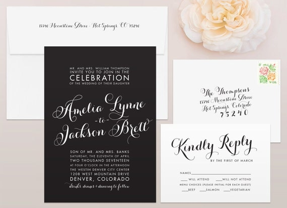 Glam Wedding Invitation & RSVP Set - Calligraphy Wedding Invitation, Script Wedding Invitation, Calligraphy Wedding Invites, Wedding Invites