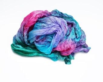 pink silk scarf  - Aurora  -  turquoise, purple, green, pink silk scarf.