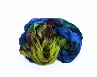 blue scarf - Uncommon threads  -  blue, green, purple, chartreuse, yellow, brown silk scarf.
