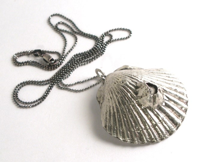 """Solid Sterling Silver Lost Wax Cast Scallop Shell on a 925 Sterling Silver Diamond Cut Bead Chain Necklace 16""""-24"""" Made to Order"""