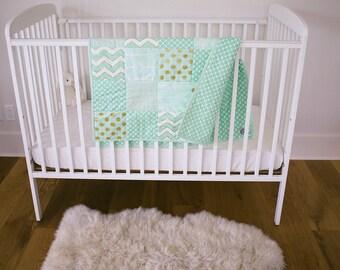 40 % OFF! Sale - Baby Quilt - Mint, gold, white, cotton, chevron, polka dots, trendy, modern, gender neutral, patchwork, baby