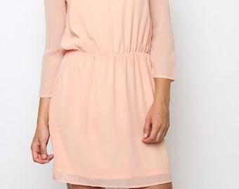 3/4 Sleeves Chiffon Dress, fully lined.