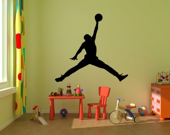 Michael Jordan Wall Decal ,Jumpman Decal,boy Room Decal Silhouette Wall  Decal, Basketball Part 10
